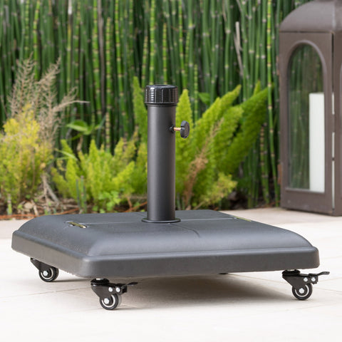 80lbs Black Steel Square Umbrella Base with Wheels - NH214003