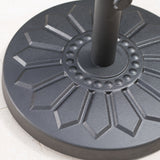 Traditional Round Black Steel Umbrella Base with Sunflower Design - NH914003