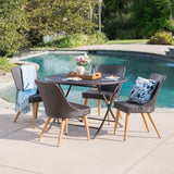 Outdoor 5 Piece Multi-brown Wicker Dining Set with Table and Chairs - NH110203