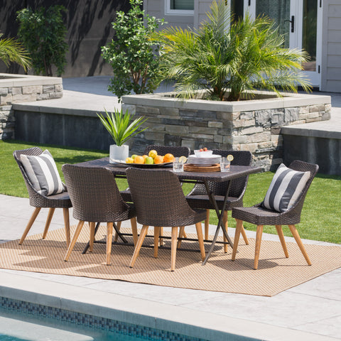 Outdoor 7 Piece Multi-brown Wicker Dining Set - NH220203