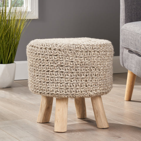 Handcrafted Boho Wool Ottoman Stool - NH736992