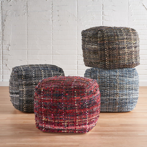 Handcrafted Boho Fabric Pouf - NH356992