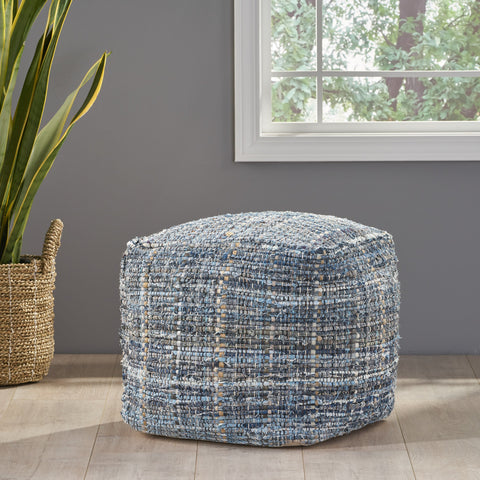 Handcrafted Boho Fabric Pouf - NH256992