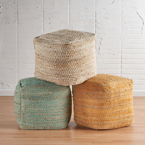Hand-Crafted Boho Fabric Cube Pouf - NH066992