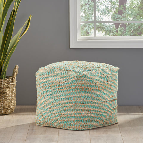 Hand-Crafted Boho Fabric Cube Pouf - NH266992