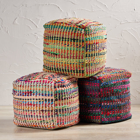 Handcrafted Boho Fabric Pouf - NH566992