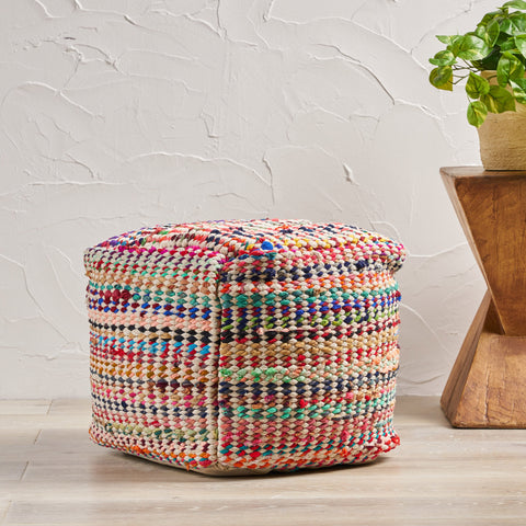 Handcrafted Boho Fabric Pouf - NH466992