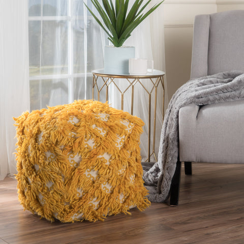 Handcrafted Boho Fabric Pouf - NH666992