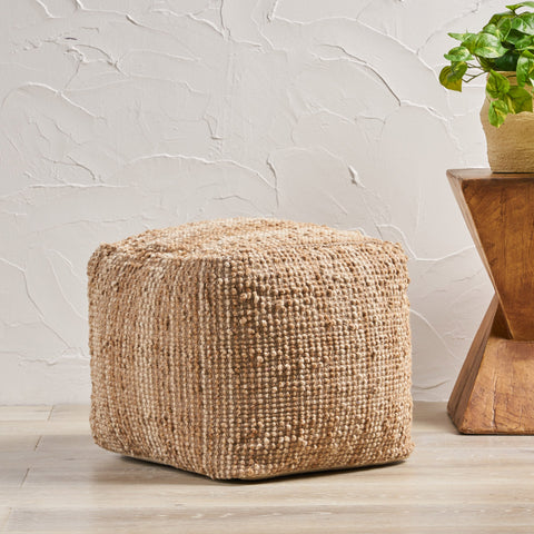 Handcrafted Boho Fabric Pouf - NH276992