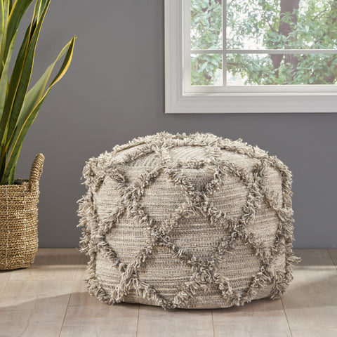 Boho Artisan Hand Woven Wool and Cotton Cube Pouf - NH676992