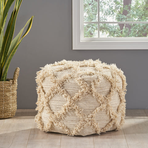 Boho Artisan Hand Woven Wool and Cotton Cube Pouf - NH776992