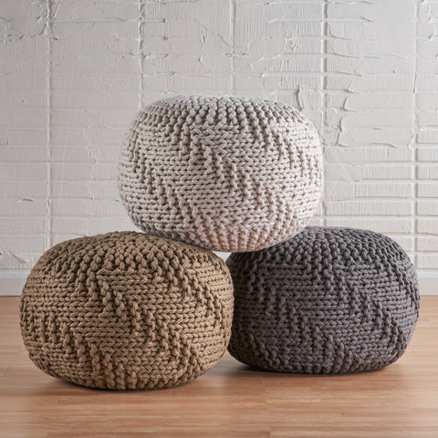 Fabric Hand Knit Pouf - NH107992