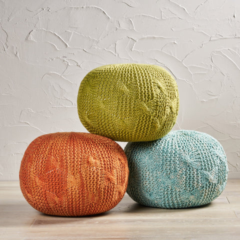 Handcrafted Modern Fabric Weave Pouf - NH407992