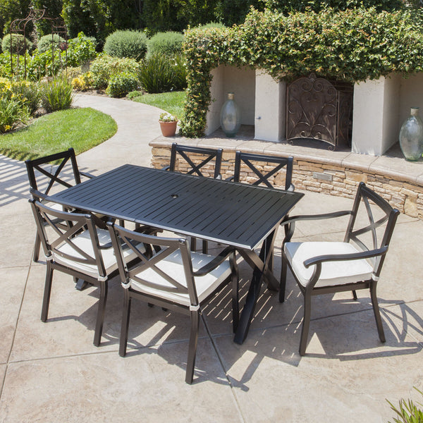 Expandable 7-9 Piece Outdoor Cast Aluminum Dining Set w/ Umbrella Hole - NH370103