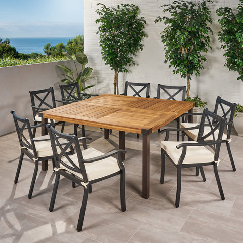 Outdoor 8 Seater Acacia Wood and Cast Aluminum Dining Set with Cushions - NH690013
