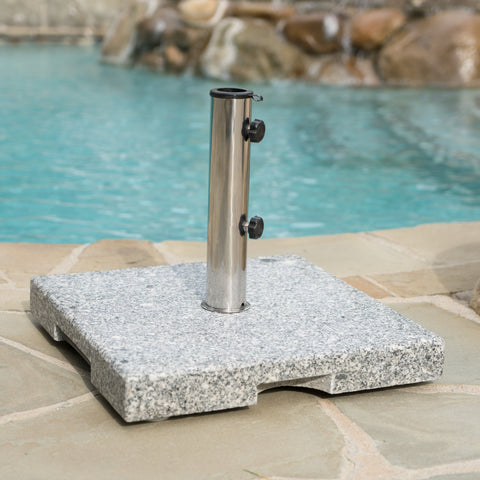 Outdoor Natural Grey Granite and Stainless Steel Umbrella Base - NH873003