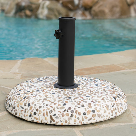 Outdoor Colorful Stone Concrete and Black Steel Unbrella Base - NH973003