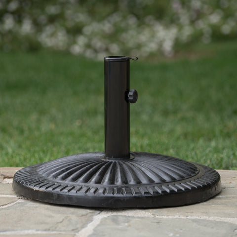 Outdoor Black Resin and Steel Umbrella Base - NH283003
