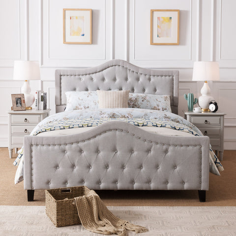 Fabric Fully Upholstered Queen Bed Set - NH211003