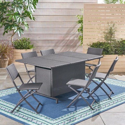 Outdoor 7 Piece Foldable Wicker Dining Set - NH500503