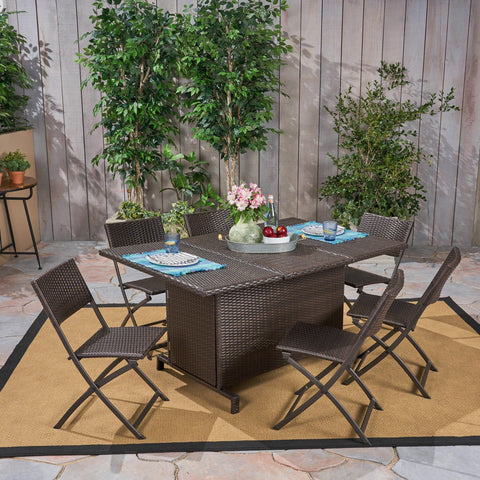 Outdoor 7 Piece Foldable Wicker Dining Set, Multi Brown - NH400503