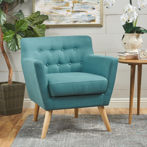 Buttoned Mid Century Modern Dark Teal Fabric Club Chair - NH844103