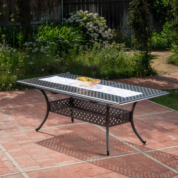 Outdoor Patina Copper Finish Expandable Dining Table - NH476003