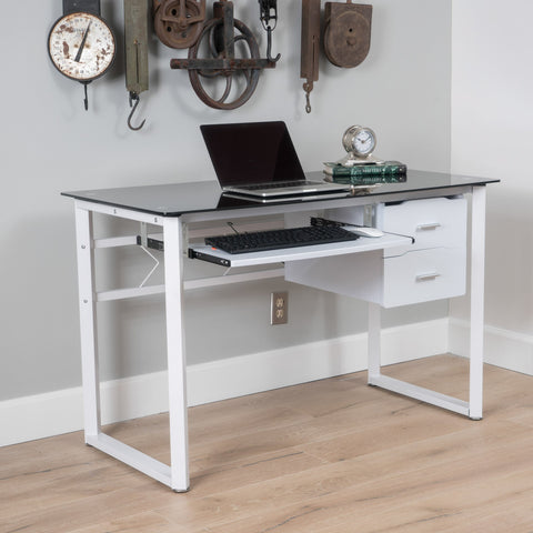 Modern Black and White Iron Office Desk with Tempered Glass Top - NH328003