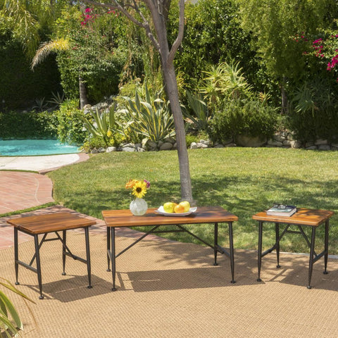 Outdoor Rustic Industrial Acacia Wood Coffee Table and Accent Table Set with Metal Frame, Teak and Black - NH031103
