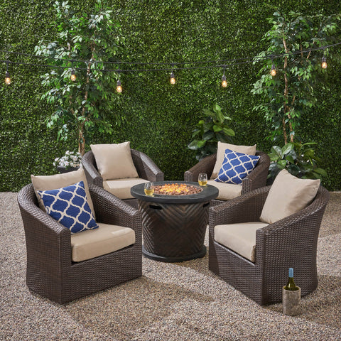 Outdoor 4 Piece Wicker Swivel Chair Set with Fire Pit, Multi Brown and Brown - NH608703