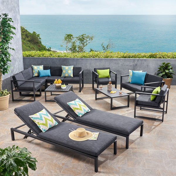 Outdoor 9 Seater Aluminum Sectional Sofa Set with Mesh Chaise Lounges - NH019503