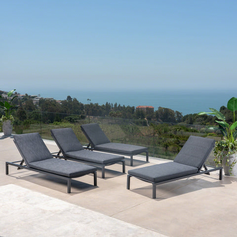 Outdoor Dark Gray Outdoor Mesh Chaise Lounges with Black Aluminum Frame (Set of 4) - NH043303
