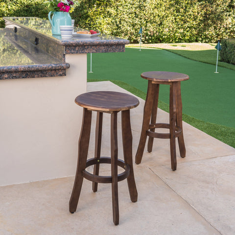 30-Inch Outdoor Dark Brown Finished Acacia Wood Barstools - NH720103