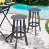 30-Inch Outdoor Dark Grey Finished Acacia Wood Barstools - NH531103