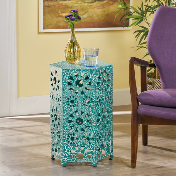 14 Inch Crackle Finish Sunburst Iron Side Table - NH539203