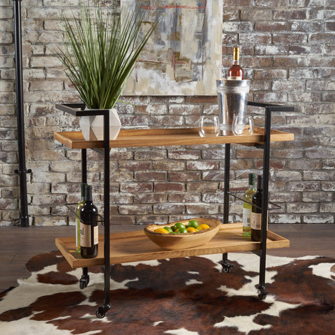 Modern Industrial Two Shelf Wood Finished Bar Cart with Rolling Casters - NH178103