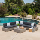 Outdoor 7 Seat Wicker V Shaped Sectional Sofa w/ Water Resistant Cushions - NH811103