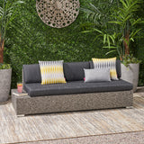 Outdoor 3 Seater Wicker Left Sofa, Mixed Black with Dark Grey Cushions - NH966403