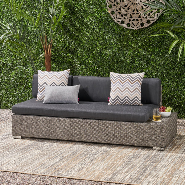 Outdoor 3 Seater Wicker Right Sofa, Mixed Black with Dark Grey Cushions - NH076403