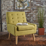 Mid-Century Modern Button Tufted Fabric Upholstered Accent Chair - NH588103