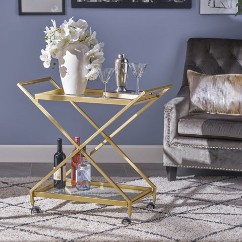 Indoor Industrial Iron and Glass Bar Cart, Gold - NH264403