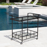 Outdoor Industrial Black Powder Coated Iron Bar Cart with Tempered Glass Shelves - NH953203
