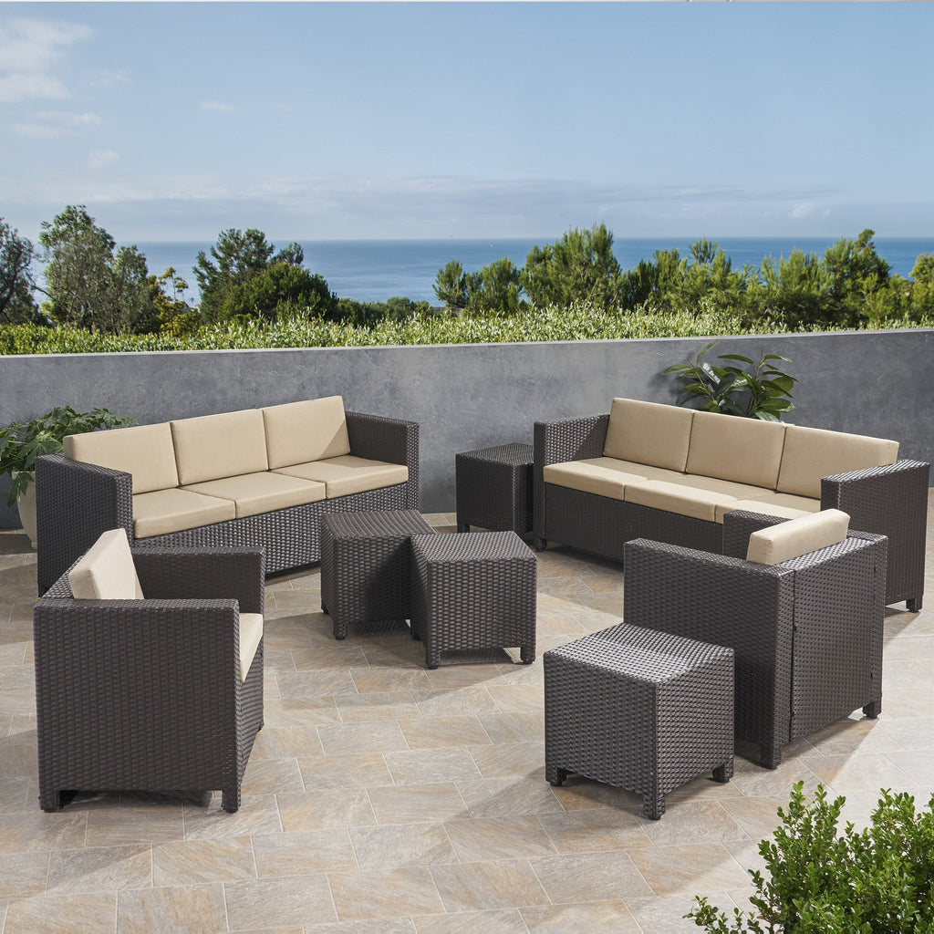 Picture of: 8 Seater Outdoor Sofa Set With Side Tables Nh929903 Noble House Furniture