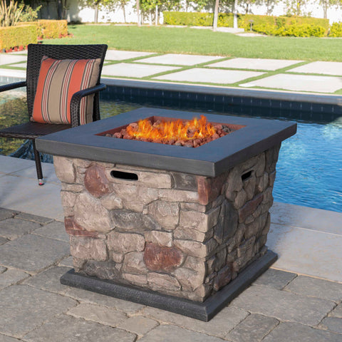 Outdoor Stone Finished Square Fire Pit - 40000 BTU - NH322303