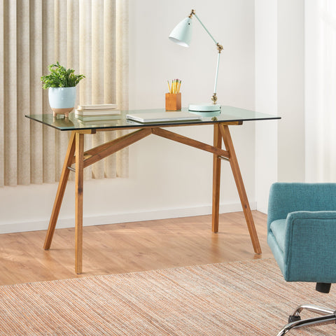 Mid-Century Acacia Wood Desk with Tempered Glass Top - NH941203
