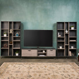 Mid Century 3 Piece TV Stand & Bookcases Set - NH678903