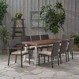 Outdoor Wood and Wicker 8 Seater Dining Set - NH056903