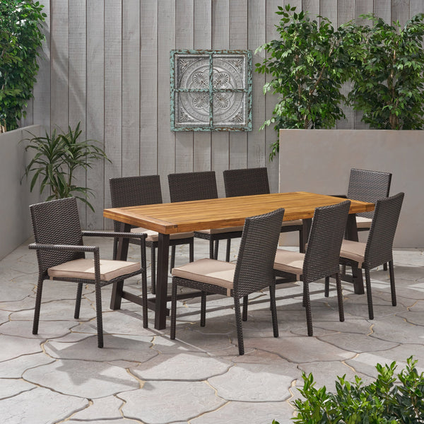 Outdoor Wood and Wicker 8 Seater Dining Set - NH736903