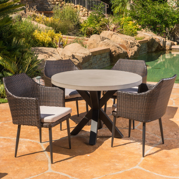 Outdoor Transitional 5 Piece Wicker Dining Set with Lightweight Concrete Table - NH093103