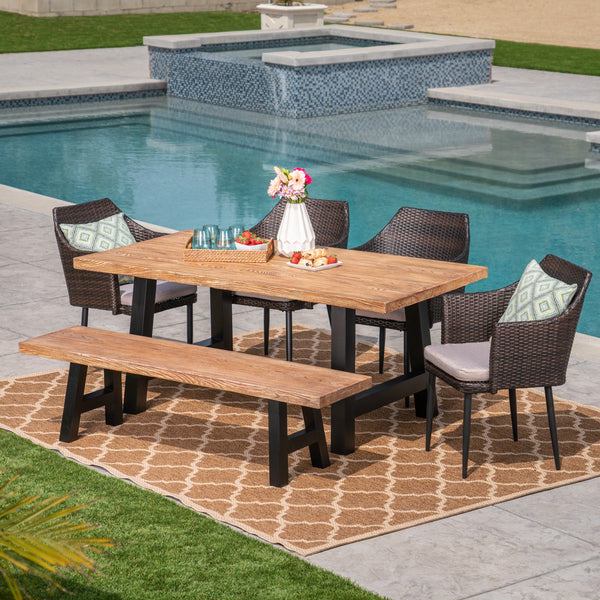 Outdoor 6 Piece Multibrown Wicker Dining Set with Natural Oak Finish Light Weight Concrete Table and Bench and Textured Beige Water Resistant Cushions - NH097303